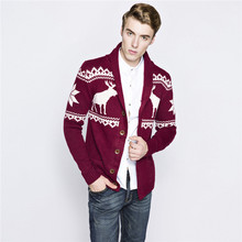 ABOORUN New Men Ugly Christmas Sweater Long Sleeve Knitted V-neck Cardigan Sweater Navy Blue Wine Deer Pattern Sweater Z1001(China)