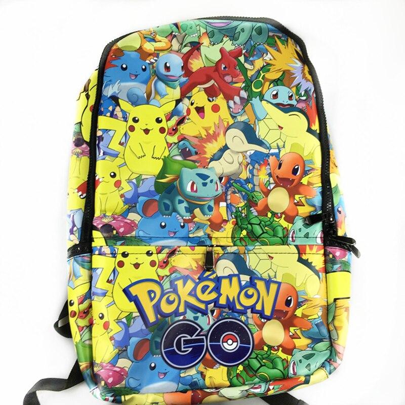 New Fashion Game Pokemon Backpack Anime Pocket Monster School Bags For Teenagers Gengar School Bag PU Leather  Backpacks Rugzak<br>