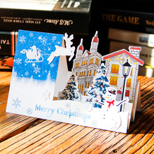 Christmas Cards 3D Handmade Holiday Greeting Cards Laser Cut Pop up Christmas Tree Card Merry Christmas Happy New Year Gift(China)