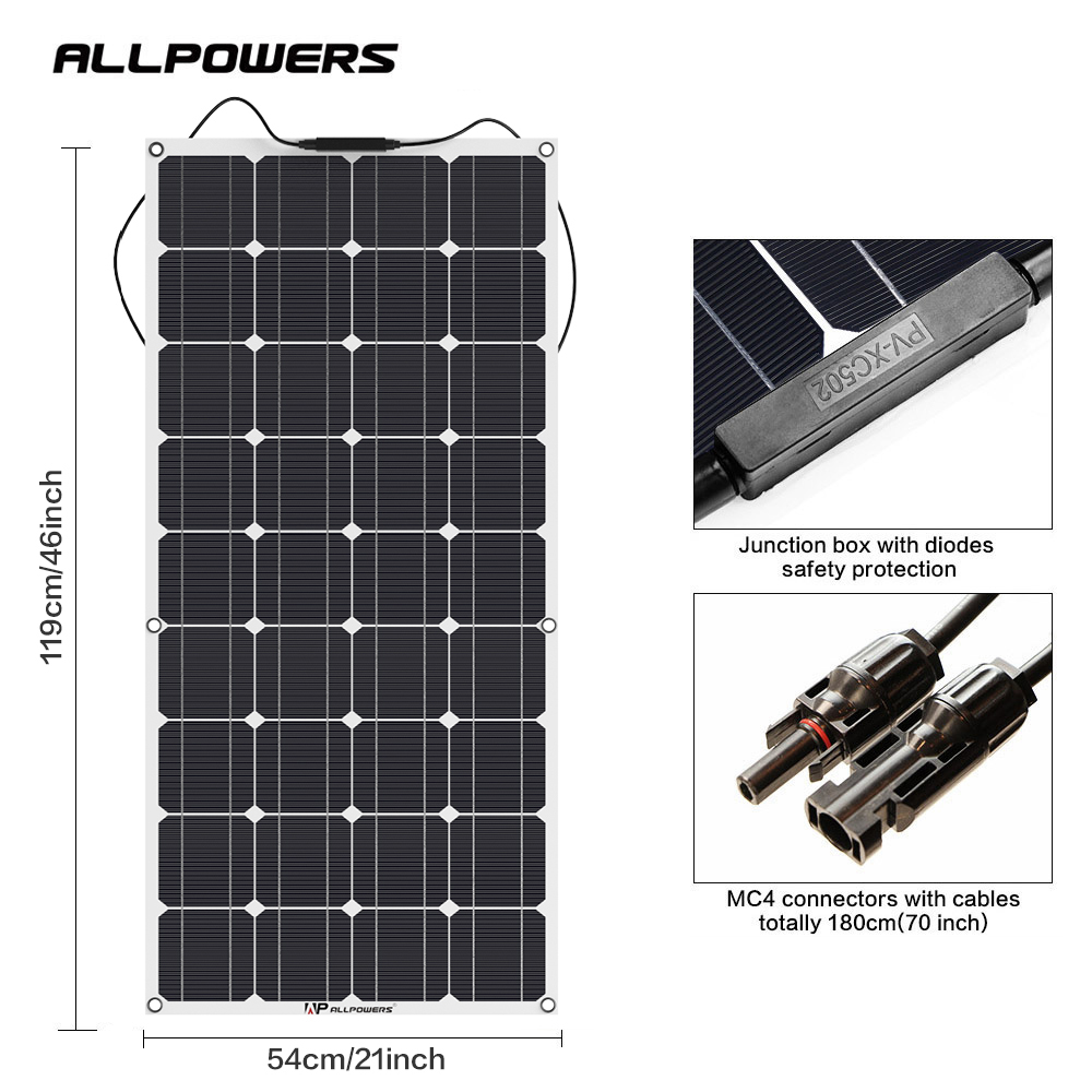 ALLPOWERS Flexible Solar Panel 100W Monocrystalline Solar Panel Battery Charger for RV Fishing-boat Cabin Tent Yachts Vehicle et(China)