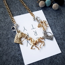 Timeless Wonder glam horse linked statement Necklace Designer gown punk club hip hop match runway rare animal unicorn sale 7548
