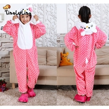 TINOLULING Girls Hello Kitty Pajamas Kids Funny Flannel Animal Onesies Sleepwear Children Winter Autumn Boys Costumes For 2-12Y(China)