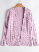 Autumn Solid Drop Shoulder Cable Knit Cardigan Casual Loose Simple Long Sleeve V Neck Basic Open Front Sweaters(China)