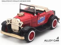 High imitation Ford convertible classic car model, 1: 36 alloy pull back car toys, music flash toy vehicles, free shipping