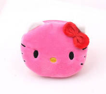 100PCS Bulk Factory Pirce - Kawaii 3Colors MIX Hello Kitty Coin BAG 10CM Approx. , Girl's Plush Coin BAG Wallet Pouch , Purse(China)