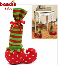 New Arrival Christmas Striped Dot Bottle Bag 20x35cm 1pcs Chair Table Feet Set For Merry Christmas Decoration Supplies