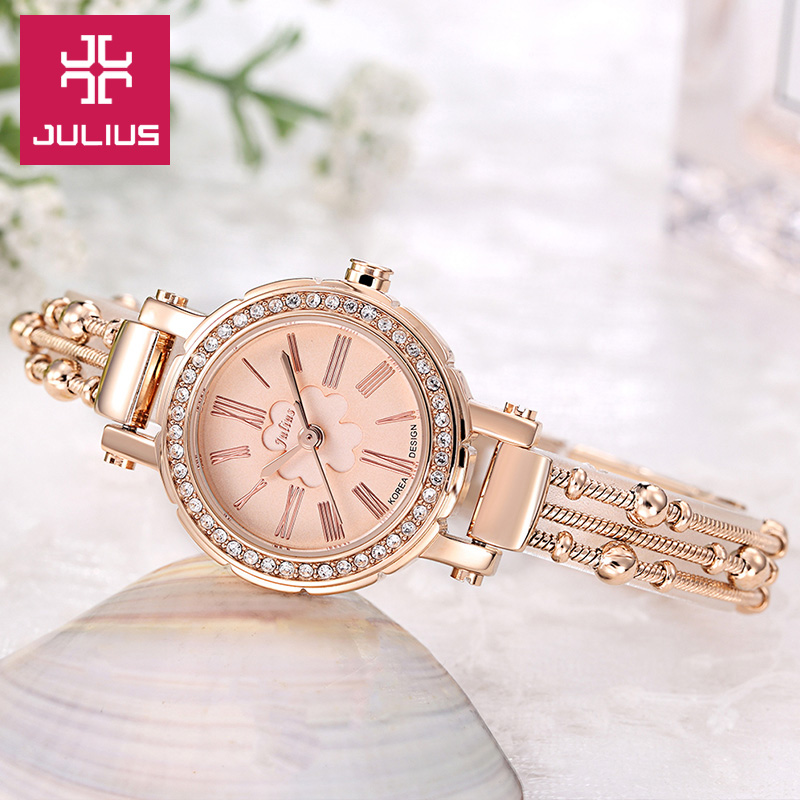 Top Julius Lady Womens Watch Japan Quartz Hours Fine Fashion Clock Beads Chain Bracelet Clover Business Girl Birthday Gift Box<br>