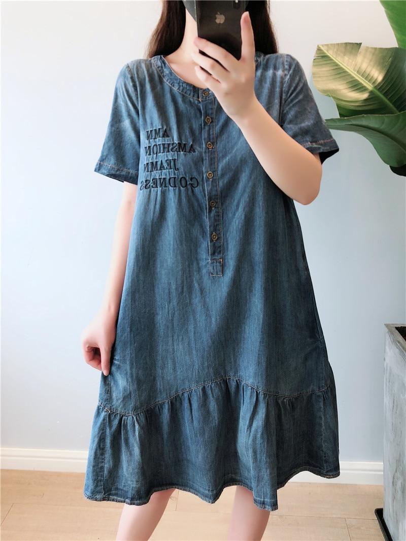 Summer Dress Women Plus Size 5XL Casual O-neck Short Sleeve Denim Dresses Women Knee Length Denim Jeans Women Dress 2019 Robe   1