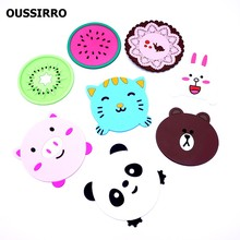 Multiple Cute Silicone Table Cup mat Drink Coaster Placemat Cup holder Coffee Pad Fruit/Cartoon/Animal/Lace 4 Style