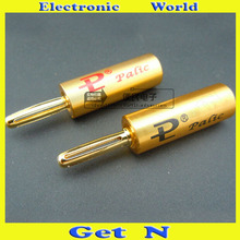 2pcs Brand New PAILICCS Connectors PS-102 Gold Plated Banana Plugs Jack Speaker Amplifier Cable Banana Socket