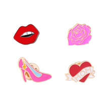 Cartoon Cute Love Heart Mom Red Lips High Heels Rose Flower Mini Enamel Women Girl Brooch Pins Denim Jacket Collar Button Pin
