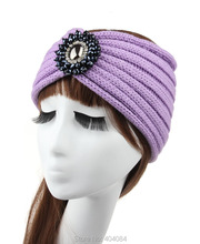 13color Retail Unique Hand Knit Headband Ear Warmers Cozy Headband Winter Accessories Knit Headwrap with big rhinestone(China)