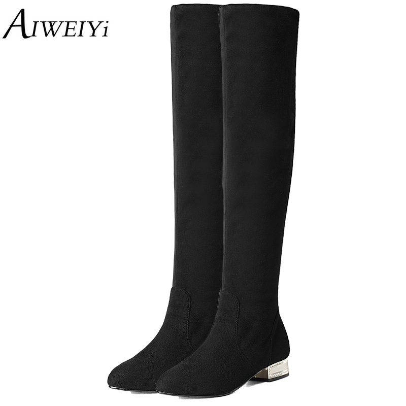 AIWEIYi 2018 Ladies Spring Autumn Knee Boots Square Low Heel Women Over The Knee Boots Scrub Black Botas Woman Motorcycle Boots <br>