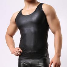 C45 Brand New Men Sexy Leather Tank Tops Undershirts for Fun Party Vest Tank JJSOX
