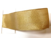 N2039 38mm X 25yards Golden Wired Edge Metallic Grosgrain Ribbon. Gift Bow,Wedding,Cake Wrap,Tree Decoration,Wreath