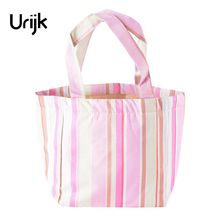 Urijk Red Drawstring Canvas Lunch Bag Striped Insulation Bag Dinner Ice Pack Backpack Shoulder Bag Ladies Girls Mommy Bag(China)