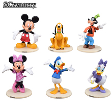 Cartoon Mickey Mouse and Donald Duck Daisy Duck Goofy Pluto PVC Action Figure Model Toy Automotive Decoration 6pcs/set CSM9