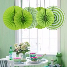 6pcs/set Summer Theme Grass Green Pleated Paper Fans Polka Dots Waves for Birthday Baby Shower Festival Wedding Hanging Decor(China)