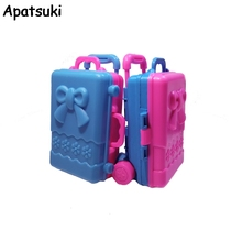 Doll Accesssories Miniature Bowknot Storage Case For Barbie Dollhouse Kids Toy Plastic 3D Cute Travel Suitcase Doll Furniture