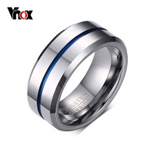 Vnox 100% Tungsten Carbide Rings for Men 8mm Width Top Quality Male Wedding Jewelry Hot Sales USA(China)
