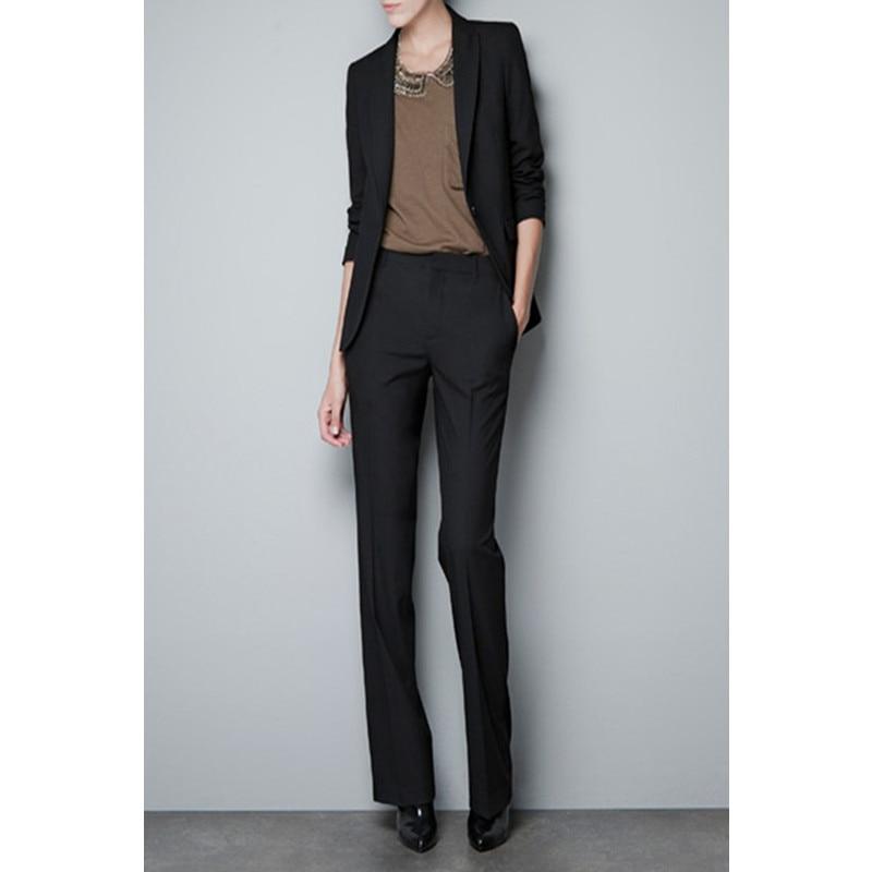 4-1 New quality Slim women\`s Black Formal work wear OL pants suit Business Work Wear cool Suits Women Pant Suits Jacket+Pants