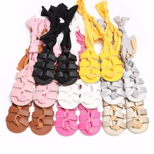 Puseky Fashion Newborn Baby Summer Shoes Infant Toddler Girls Kids Gladiator Bandage Roma First Walkers Rubber Soled Boots