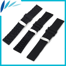 Silicone Rubber Watch Band 20mm 22mm 24mm Diesel Hidden Clasp Strap Wrist Loop Belt Bracelet Black + Tool + Spring Bar