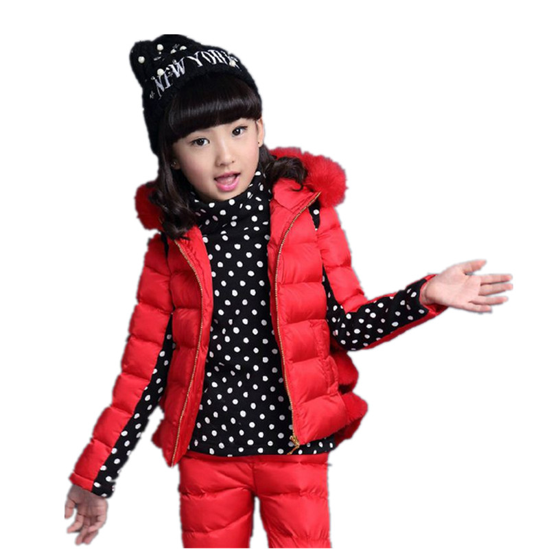 2017 Nova Fashion Winter Girls Down Suit Zipper Hooded Long-Sleeved 3-Piece Suit Stitching Color Thicken Children Suit HL0303<br><br>Aliexpress