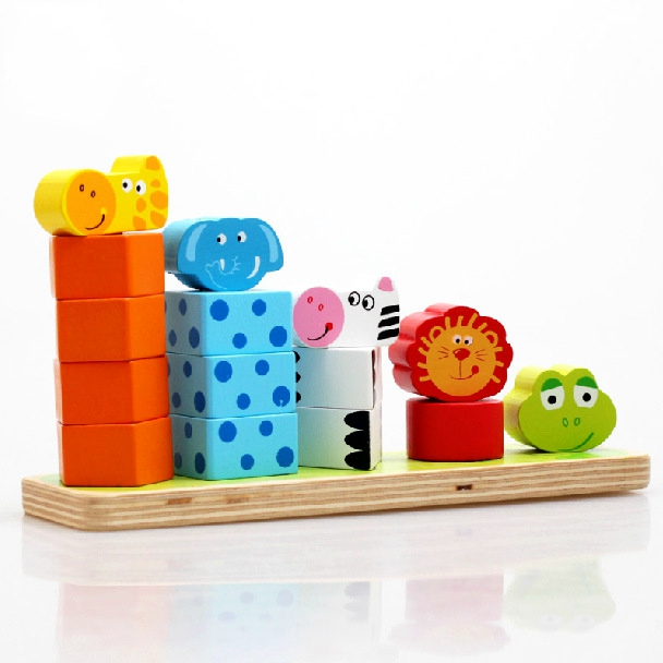 BOHS Baby Wooden Children Animal Stacker Rings Blocks Toys(China)