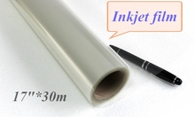 "wholesale price 6 rolls of 17""*30m clear inkjet film for plate making 6 rolls in a carton(China)"