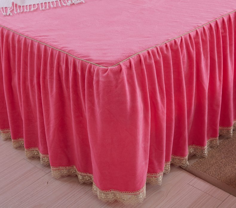 3Pcs Fleece Bed Skirt Set W/ Pillowcases, Mattress Protective Cover 23