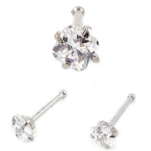 top quality clear color faux nose rings and studs piercing nose bar with crystal surgical steel pircing body jewelry