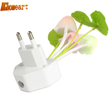 kids room Control Auto light sensor led color change night light mushroom lamp 110V 220V EU US Plug Colorful Led Night lights(China)