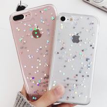Transparent Glitter Powder Stars Hearts Soft TPU Phone Back Cover Case For iPhone 7 For iPhone 5 5S SE 6 6S 7 Plus Phone Bags