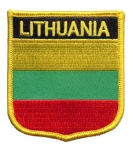 "Make items as client request, Lithuania flag patch,3"",merrow border,iron on backing, 100pcs/bag, MOQ50pcs, free shipping"