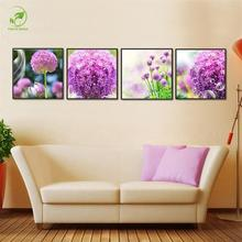 Modern 4pcs Melamine Sponge Board Canvas Oil Painting Landscape Pictures Frame Purple Flowers Living Room Wall Art Prints Paint