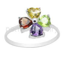 Gemstone ring Per jewelry Natural real amethyst,citrine,peridot,garnet 925 sterling silver rings 0.35ct*4pcs gems #15111602