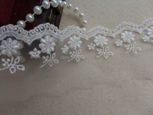 2 Yds Rayon Embroidered Lace Trim in Ivory for Bridal, Doll Dresses, Clutch purse bag, Altered couture