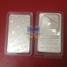 10pcs/lot 999 fine Non magentic brass bar plated silver bullion bar 1oz silver pan american bar Amazing Gifts