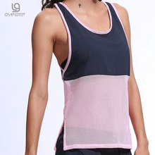 Summer Sleeveless Tank Top Women Sporting Shirts Chiffon Patchwork Hollow Breathable Gyming Tops Fitness Female Quick Dry Shirts(China)