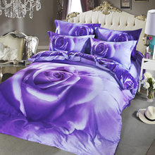 ARNIGU Purple Flower printed Duvet Cover set Queen size 4pc bedding sets Pure Cotton Bedlinen Quilt case Bed sheet pillowcase(China)