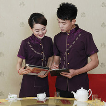Wholesale Upscale Hotel Waiter Uniforms Summer Short Sleeve 3 Color for Women and Men Staff Uniforms Free Shipping