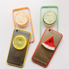 UVR Cartoon 3D fruit lemon orange watermelon For Iphone 6 6s plus 5s 5 SE case phone cases cover bag mobile phone case Dust plug