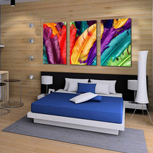 Modern House Wall Decorative Pictures Fresh Look Color Feather Oil Painting Prints on Canvas Room Decor Pop Art 3 Piece No Frame