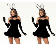 Holiday Sale Sexy Black/Pink Bunny Girl Adult Animal Costume Fancy Dress Rabbit Costumes Clubwear Partywear