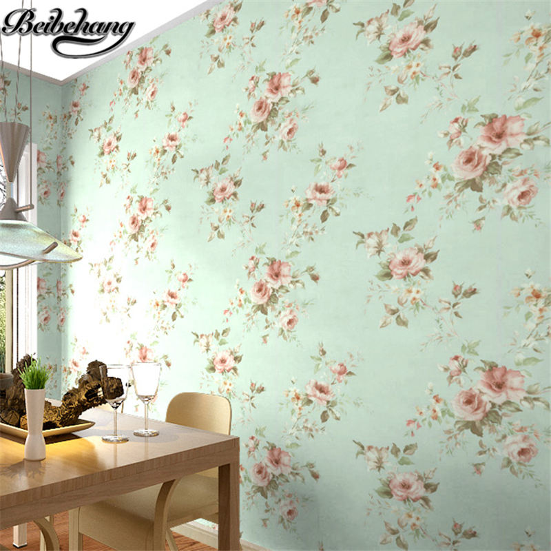 beibehang High atmospheric PVC wallpaper bedroom Mediterranean blue idyllic small floral decoration wallpaper for walls 3 d<br>