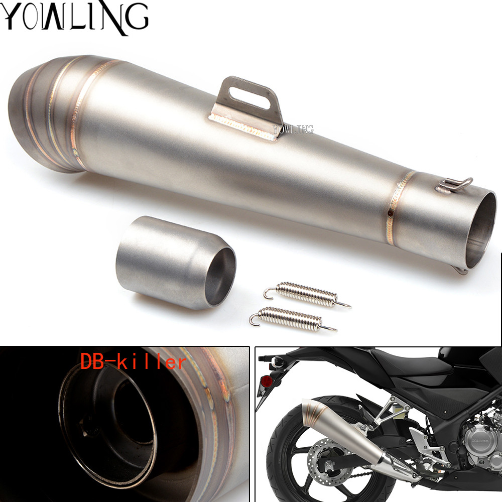 48.8MM Modified motorcycle exhaust pipe fried tube exhaust pipe For HONDA X-11 CBR250R VFR 1200/F ST 1300 Black SpiRit NC750 S/X