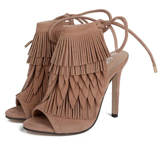 Size 4~9 Tassel Ankle Strap Women Shoes 2017 Peep Toe High Heels Shoes Summer Women Pumps zapatos mujer (Chenk Foot Length)<br><br>Aliexpress