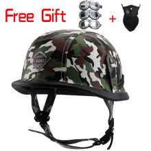 Open Face Half Leather Helmet Harley WWII Style BLACK German Motorcycle Half Helmet Chopper Biker Pilot Vespa camouflage