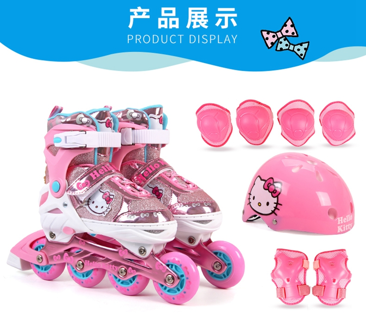 Hello Kitty Full Flashing Roller Skate Shoes with Protective Suit For Kids Girl Boy Adjust Shoes Daily Street Brush Skating (18)
